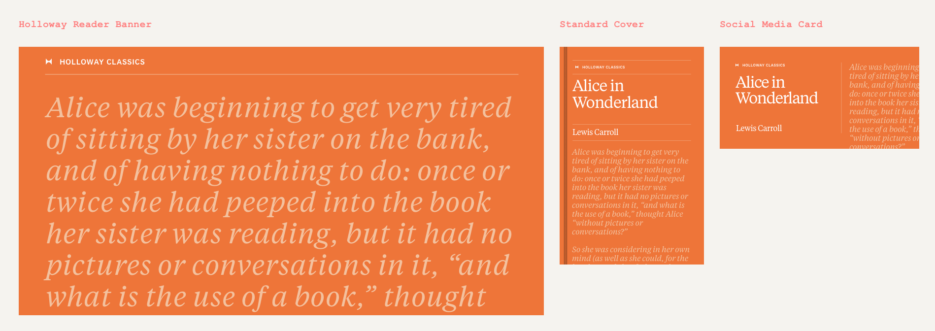 Holloway Classics Design System - Alice in Wonderland