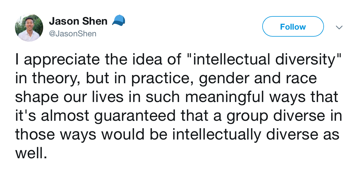 Jason Shen on Twitter about ideological diversity