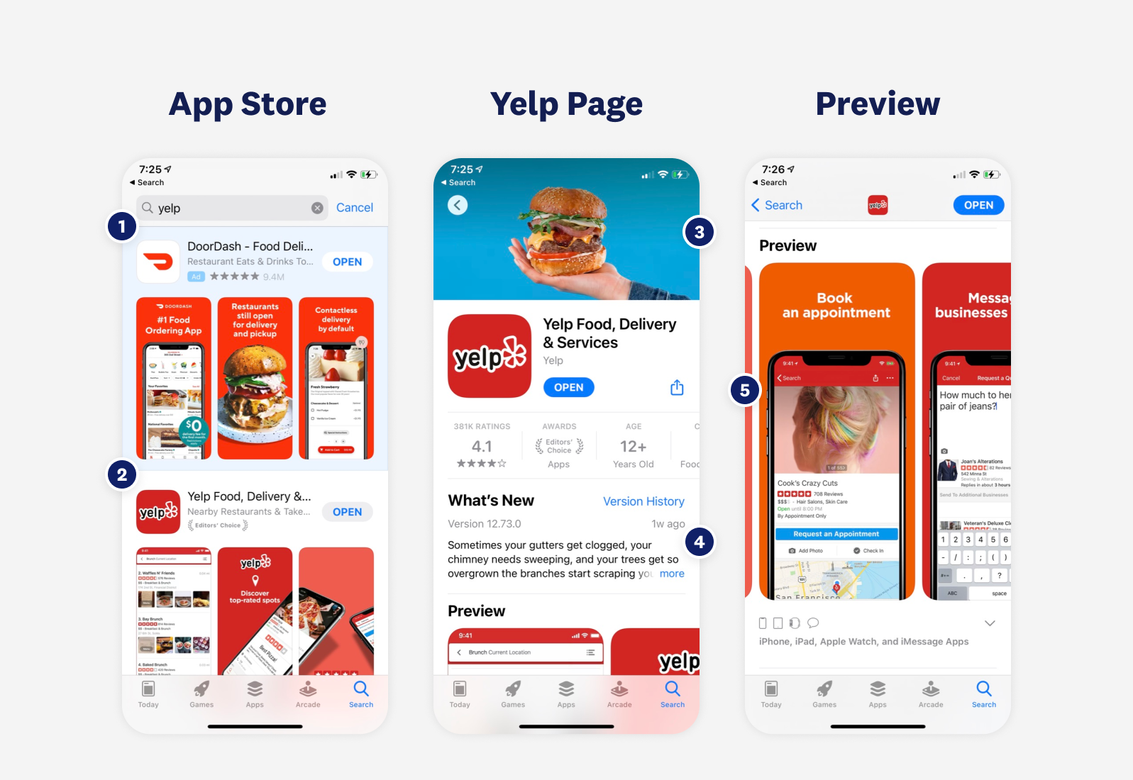 Yelp on the app store