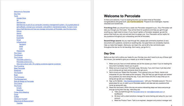 Percolate's Day One Onboarding Plan