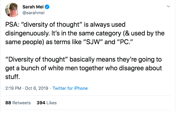 Sarah Mei on Twitter about ideological diversity